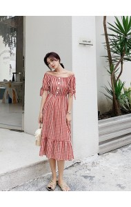 KDS08160087M Off shoulder plaid dress with ribbon sleeves REAL PHOTO