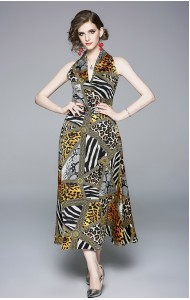 BDS08174445X Halter leopard maxi dress REAL PHOTO