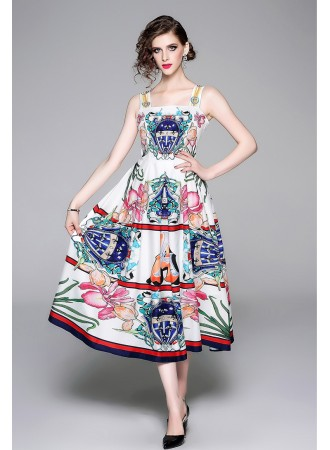 BDS08173385X Printed flared tank dress REAL PHOTO