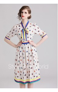 BDS0817658X Printed beetle OL bow dress REAL PHOTO