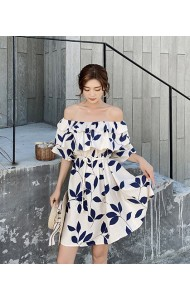 KDS08185087M Off shoulder leaf print dress REAL PHOTO