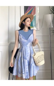 KST08181001Y Leave print flared jumpsuit dress with knit top set REAL PHOTO