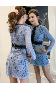 KDS08196169W Full lace long sleeves mini dress REAL PHOTO