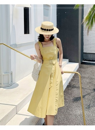 KDS08190187M Strappy belted yellow dress REAL PHOTO