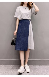 KST08206601Y Dress & denim skirt 2 pc set REAL PHOTO