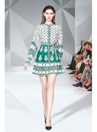 BDS08218619H Printed puff sleeves dress REAL PHOTO
