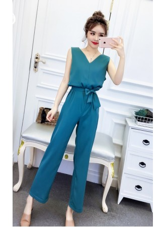 KJP08216523S Straight cut jumpsuit with belt REAL PHOTO