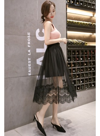 KSK08210691X Tulle skirt with lace trim REAL PHOTO