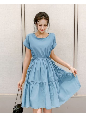 KDS08221163A Drawstring tiered dress REAL PHOTO