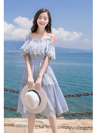 KDS08226918T Embroidery lace trim off shoulder dress REAL PHOTO