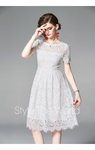 BDS08232666X Hollow shoulder lace white dress REAL PHOTO