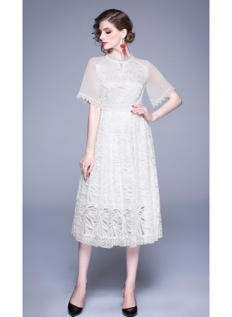 BDS08232626X Hollow trumpet white lace dress REAL PHOTO