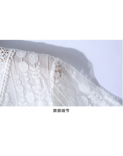 BDS08233176X V neck hollow white lace dress REAL PHOTO