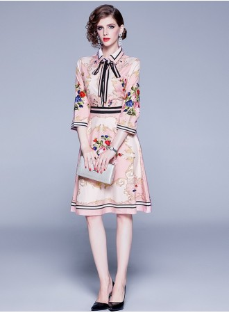 BDS08248401W Printed florrie dress with bow REAL PHOTO