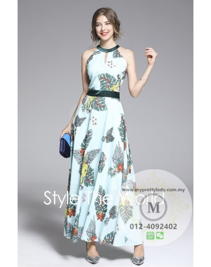 BDS0830620S Halter printed maxi dress REAL PHOTO