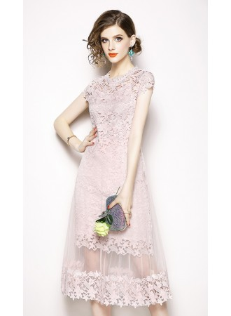 BDS08317101W Crochet cut out layer dress REAL PHOTO