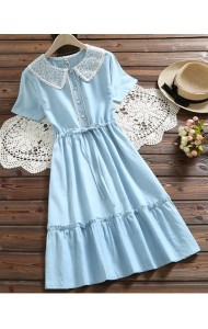 KDS09032502W Lace collar drawstring soft jeans dress REAL PHOTO