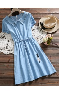 KDS09035002W Embroidery bunny drawstring soft jeans dress REAL PHOTO