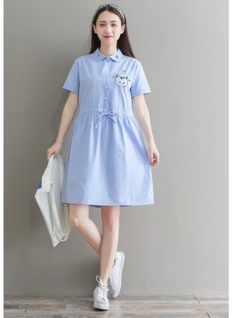 KDS09032102W Embroidery kitten drawstring soft jeans dress REAL PHOTO