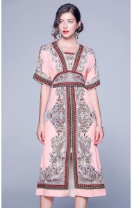 BDS09034766Z Bohemian printed split dress REAL PHOTO
