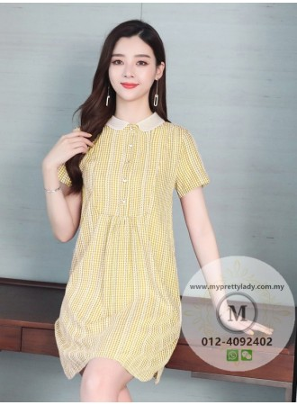 KDS09031288Y Embroidery checker florrie dress REAL PHOTO