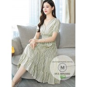KDS09038288Y V neck embroidery checker florrie dress REAL PHOTO