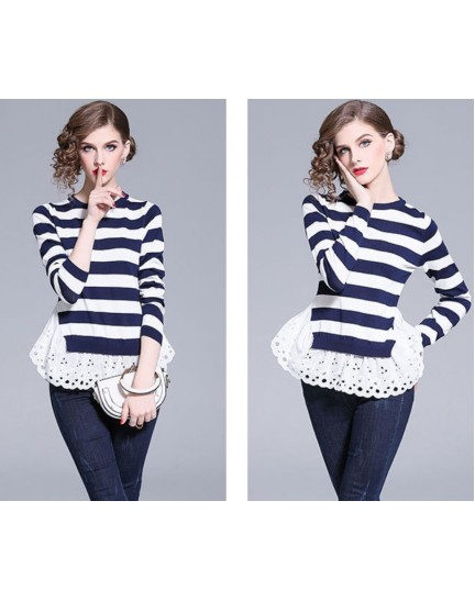 BTP09031988F Stripes cut out blouse REAL PHOTO