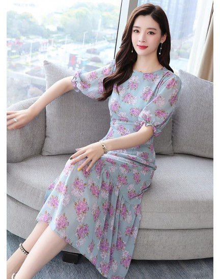 KDS09032789H Puff sleeves florrie dress REAL PHOTO