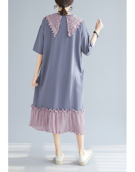 KDS09051347X Lace collar pleated hem t shirt dress REAL PHOTO