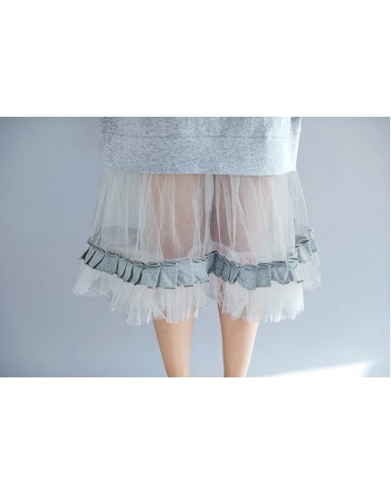 KDS09057347X Tulle lace hem t shirt dress REAL PHOTO