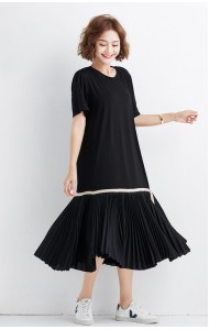 KDS09050737X Korean pleated t shirt dress REAL PHOTO