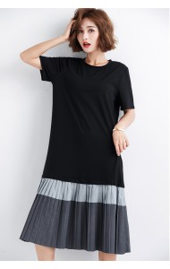 KDS09052937X Korean pleated t shirt dress REAL PHOTO