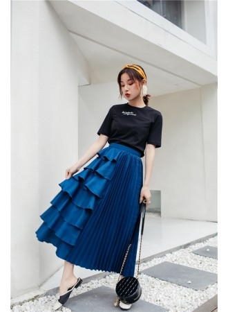 KSK09056871Q Tiered pleated skirt REAL PHOTO