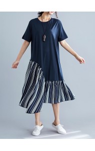 KDS09051457X Korean irregular stripes t shirt dress REAL PHOTO