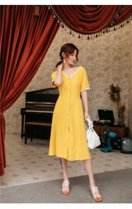 KDS09062181H V neck crochet trim yellow dress REAL PHOTO