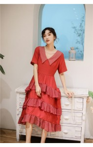 KDS09062769Y V neck layer red dress REAL PHOTO