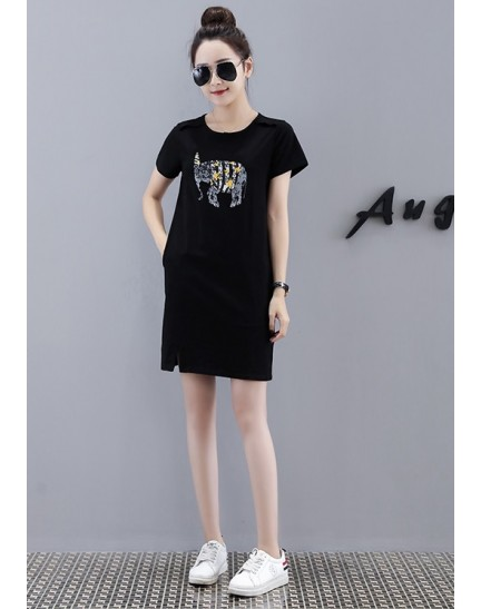 KDS09063062Y Elephant print t shirt dress REAL PHOTO