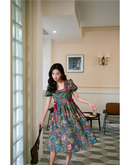 KDS09061951H Flower dress with side ribbon REAL PHOTO