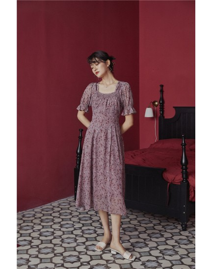 KDS09066851H Vintage puff sleeves flower dress REAL PHOTO