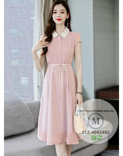 KDS09263302M Peter pan chiffon belted dress REAL PHOTO