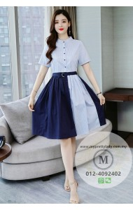 KDS09265302M Belted cotton stripes dress REAL PHOTO