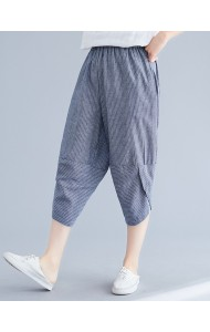 KPT09288823Y Plus size stripes linen pants REAL PHOTO
