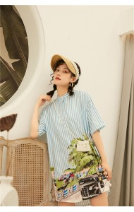 KDS09309381Q Stripes printed shirt dress REAL PHOTO