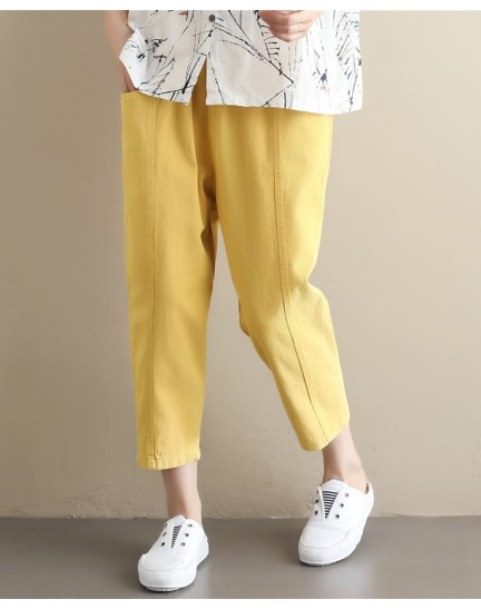 KPT10018909W Plus size cotton carrot pants REAL PHOTO