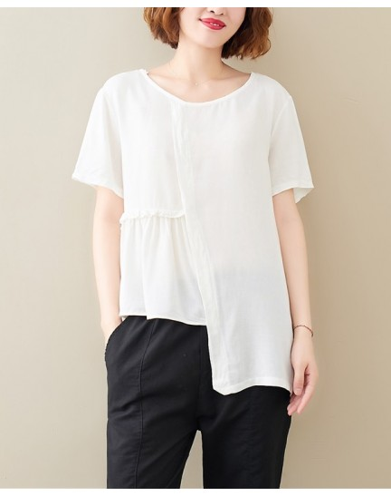KTP10026029W Plus size linen asymmetric top  REAL PHOTO