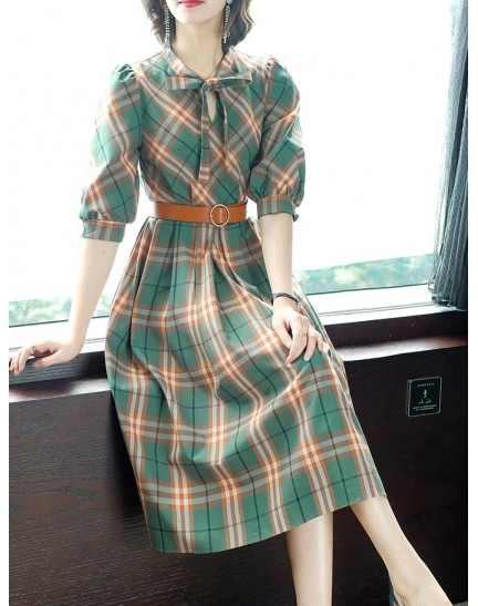 KDS10037157M OL checker dress with bow REAL PHOTO
