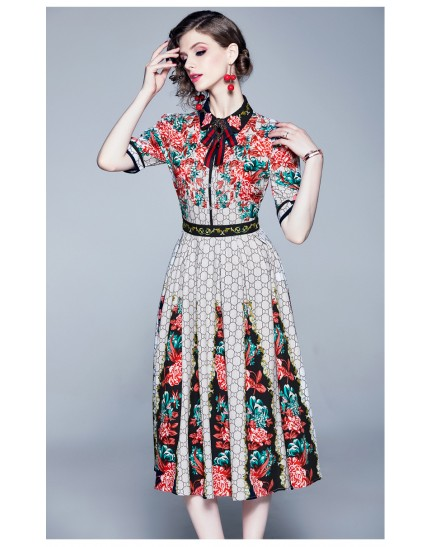 BDS10065509H Printed bow dress REAL PHOTO