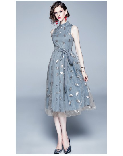 BDS10067509H Cheongsum collar embroidery sequin mesh dress REAL PHOTO