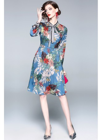 BDS10076009H Blue florrie dress with bow REAL PHOTO