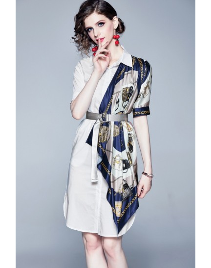 BDS10075309H Asymmetric printed shirt dress REAL PHOTO
